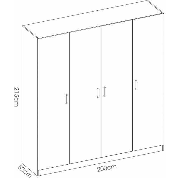 armario de 4 puertas 200cm blanco 5