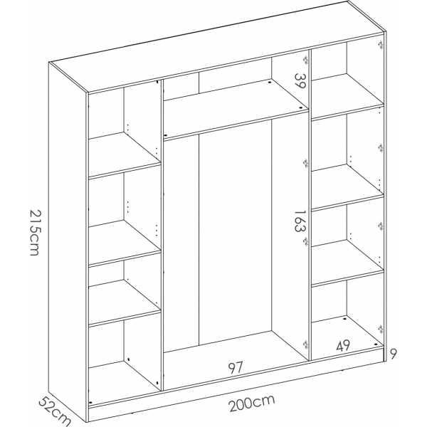 armario de 4 puertas 200cm blanco 7