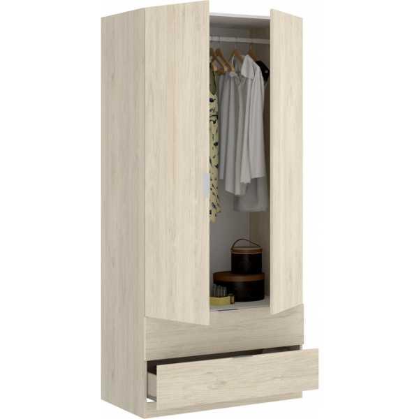 armario dormitorio 2 puertas con 2 cajones de 80 cm 2