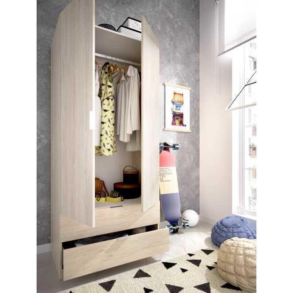armario dormitorio 2 puertas con 2 cajones de 80 cm 3