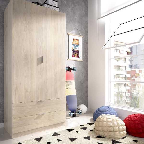armario dormitorio 2 puertas con 2 cajones de 80 cm 4