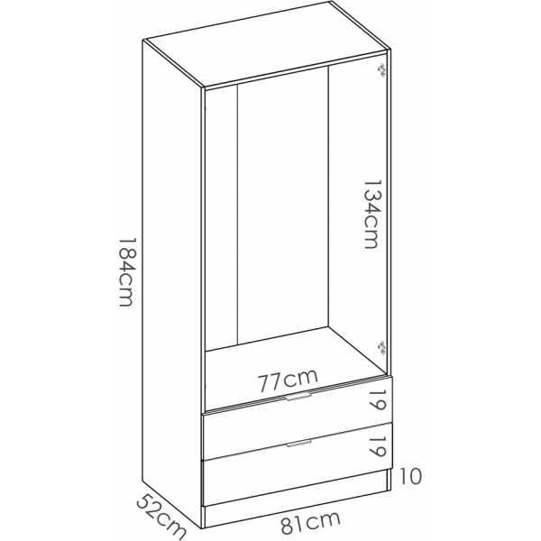 armario dormitorio 2 puertas con 2 cajones de 80 cm 5