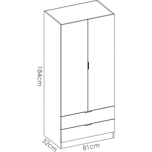 armario dormitorio 2 puertas con 2 cajones de 80 cm 6