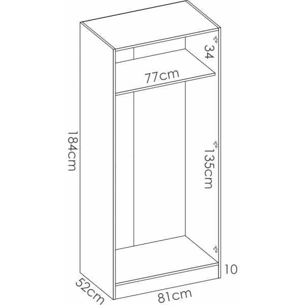 armario madera 2 puertas 80 cm 5