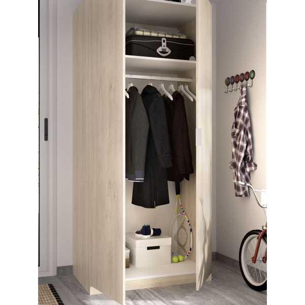 armario madera 2 puertas 80 cm