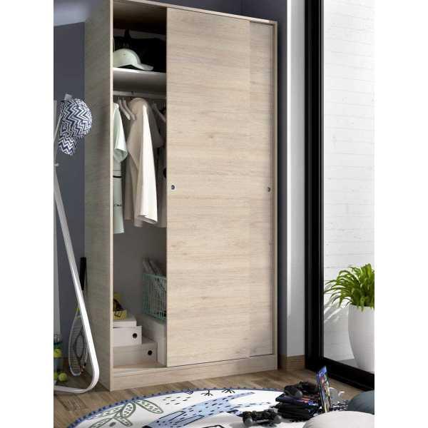 armario madera 2 puertas corredera 100 cm 2