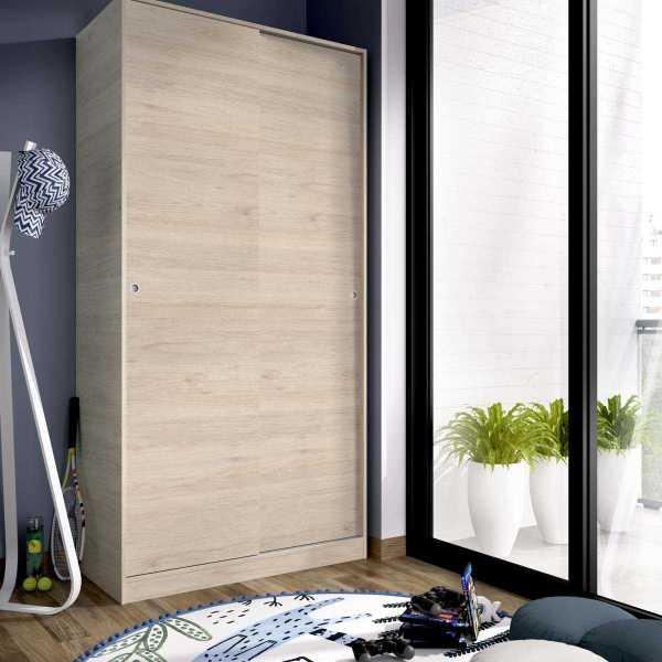 armario madera 2 puertas corredera 100 cm 3