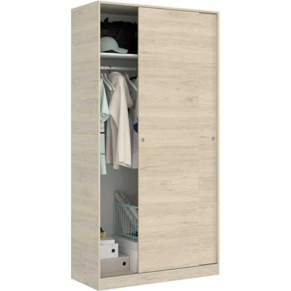 armario madera 2 puertas corredera 100 cm 4