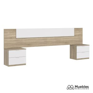 cabecero y mesitas de noche de madera y blanco 016075f