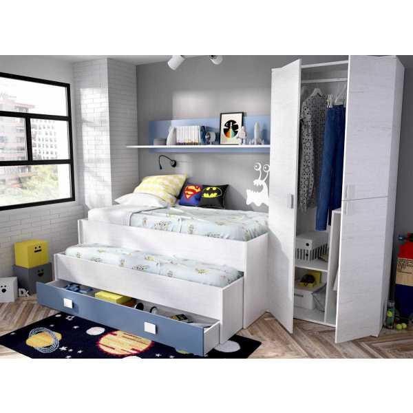 cama compacto 1 cajonesestanteria