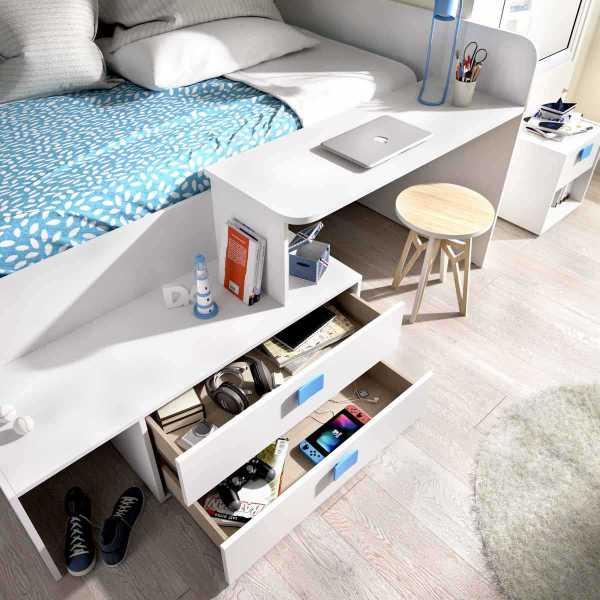 cama con cajones y escritorio