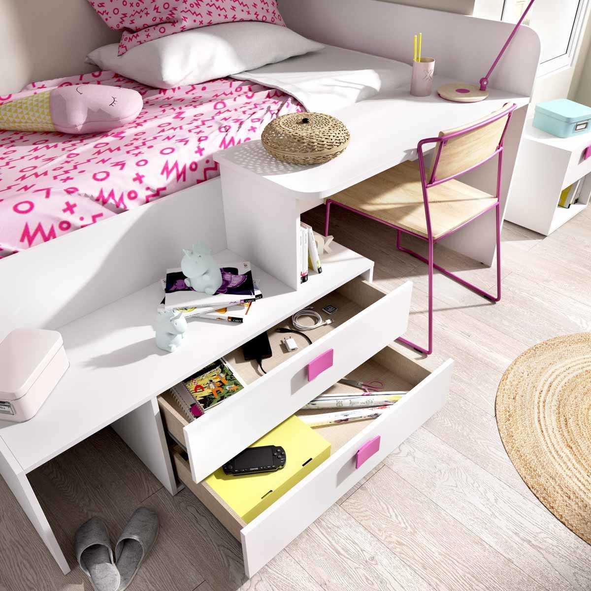 cama con cajones y escritorio 7
