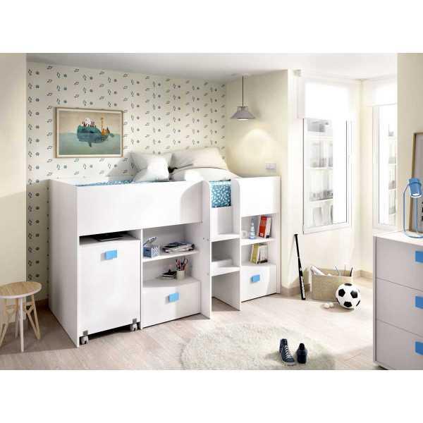 cama con escritorio y cajones de 90x200 cm 11