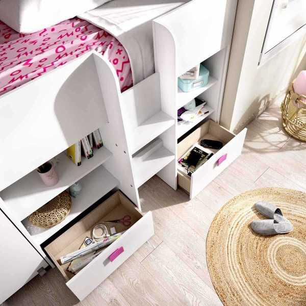cama con escritorio y cajones de 90x200 cm 3