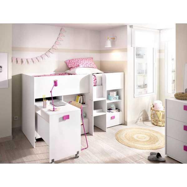 cama con escritorio y cajones de 90x200 cm 5