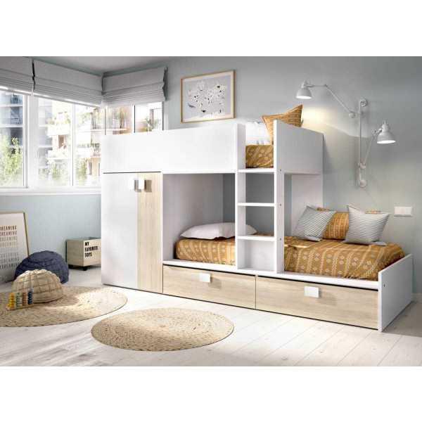 cama juvenil con cajones y escritorio 2