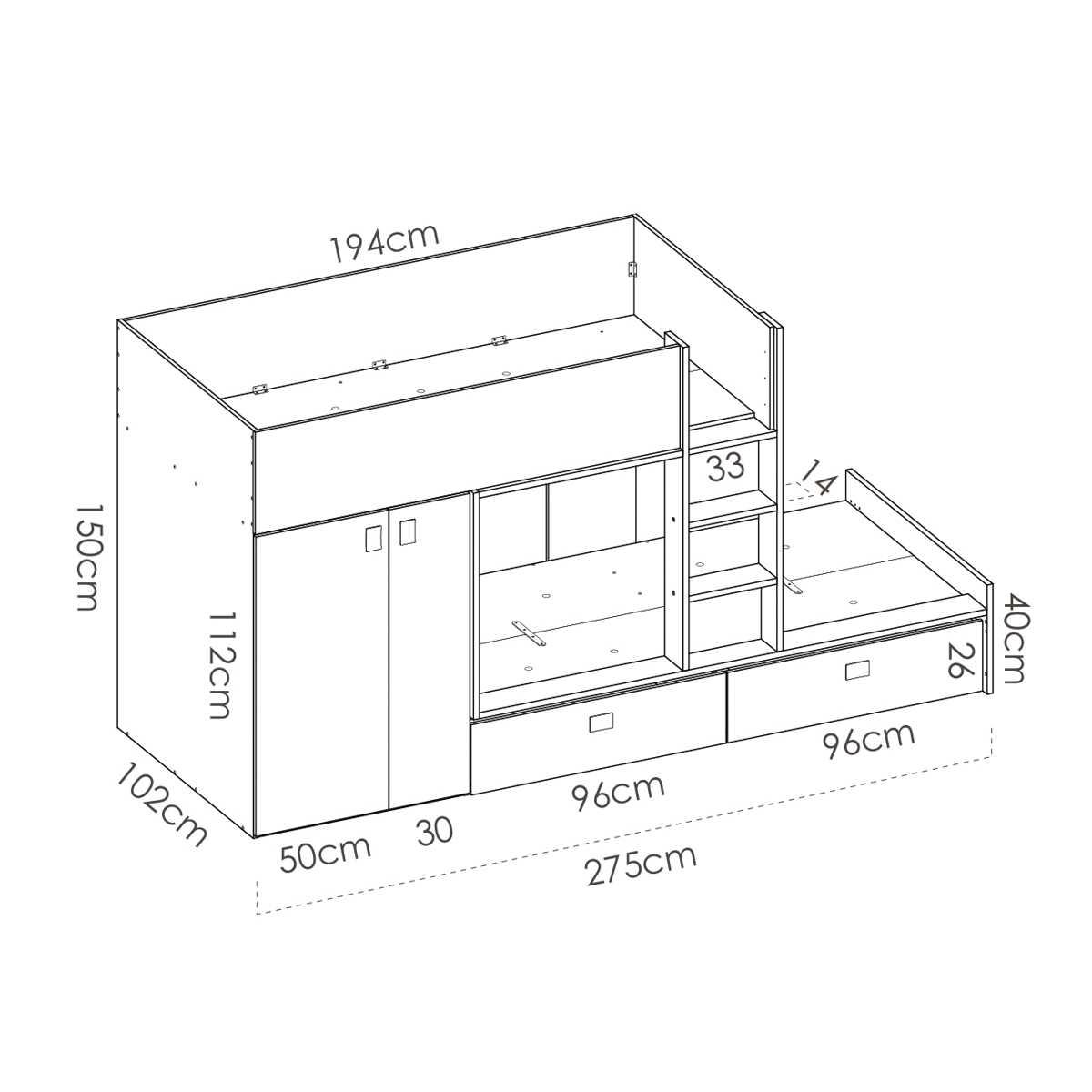 cama juvenil con cajones y escritorio 6