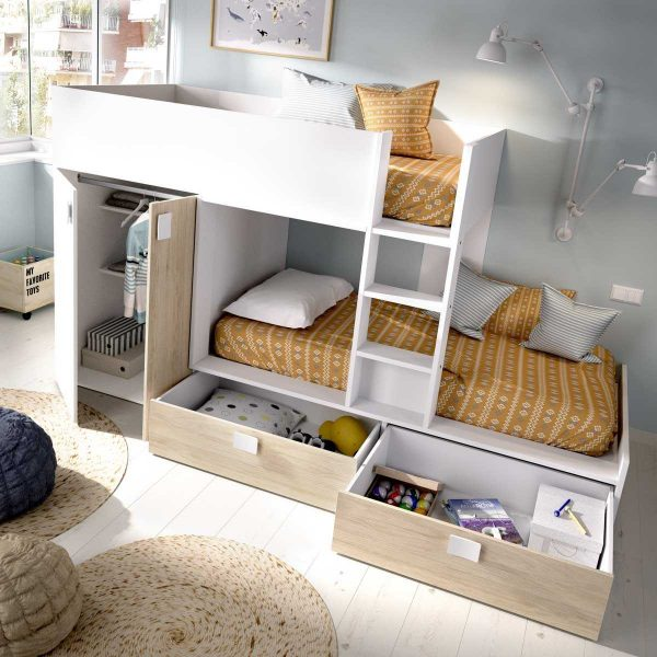 cama juvenil con cajones y escritorio