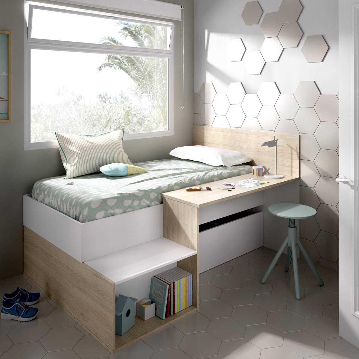 cama juvenil con escritorio 1