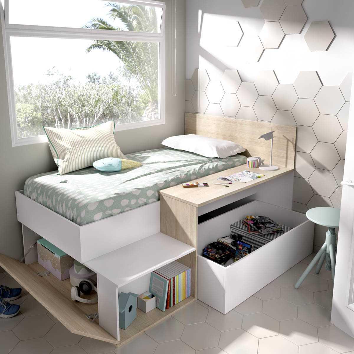 cama juvenil con escritorio