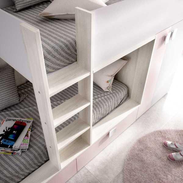 cama juvenil rosa con 2 camas 1