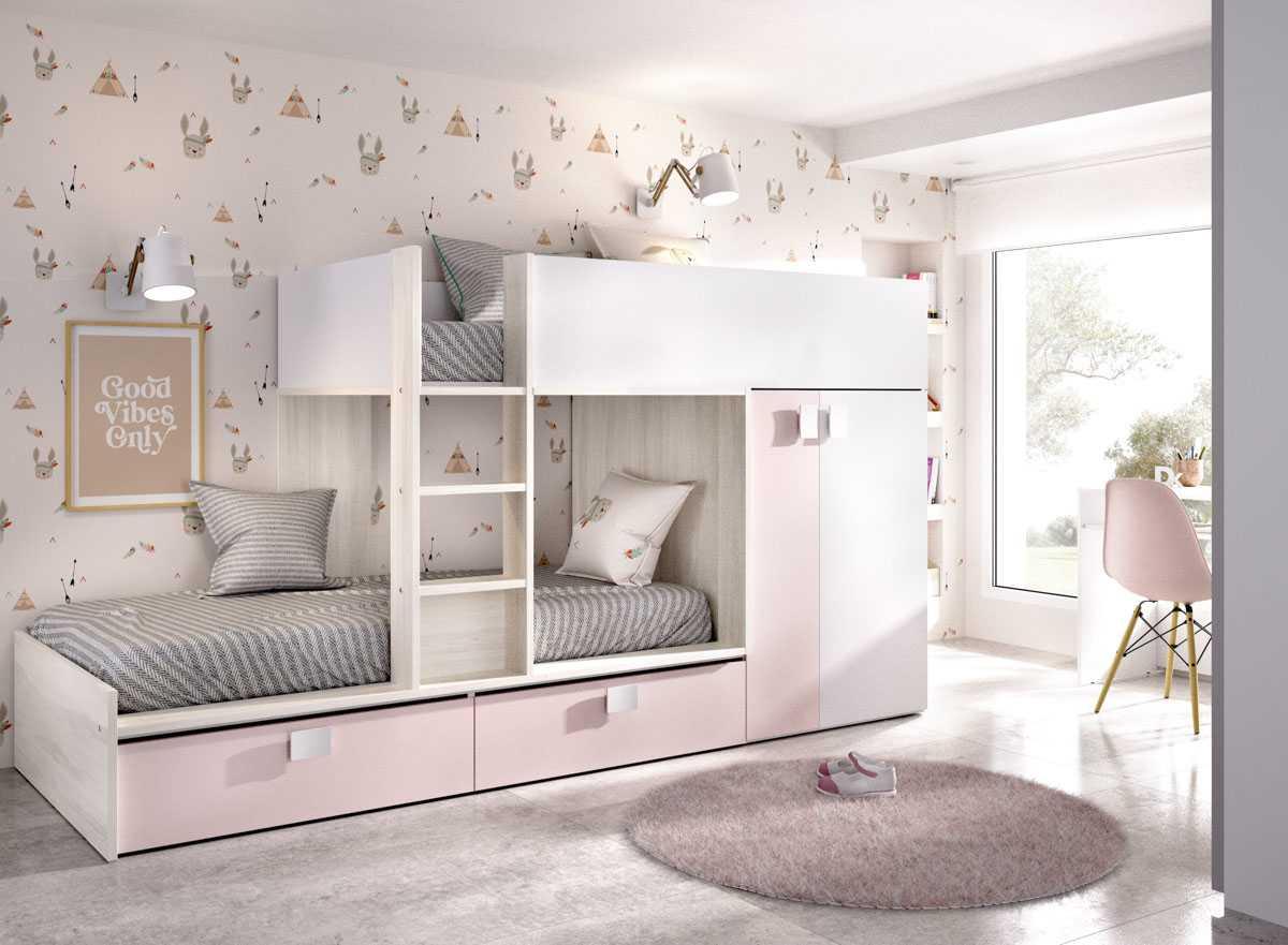 cama juvenil rosa con 2 camas 2