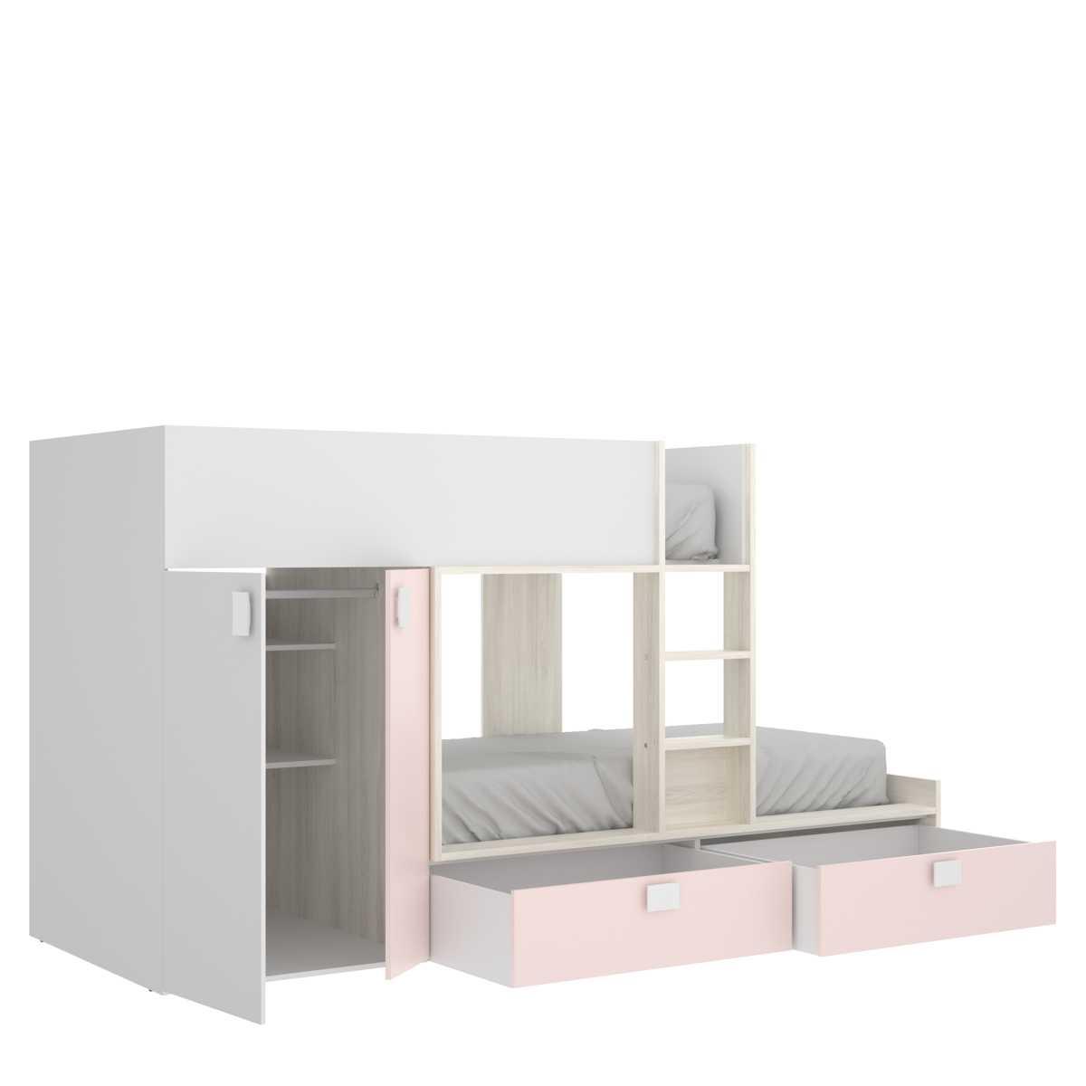 cama juvenil rosa con 2 camas 3