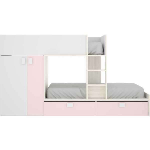 cama juvenil rosa con 2 camas 5