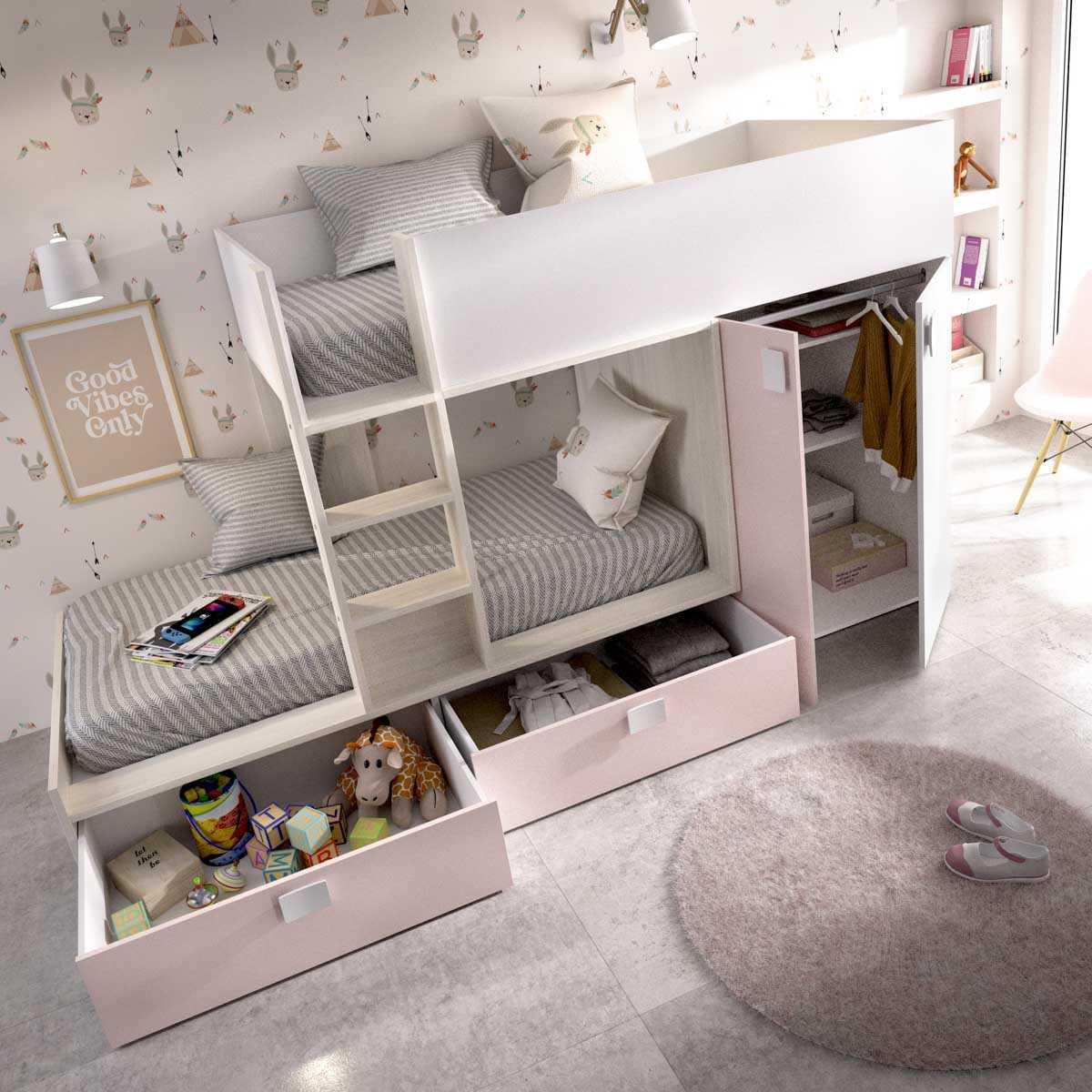 cama juvenil rosa con 2 camas