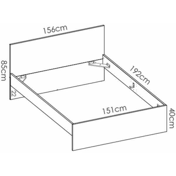 cama matrimonio 150 cm x 190 cm 2