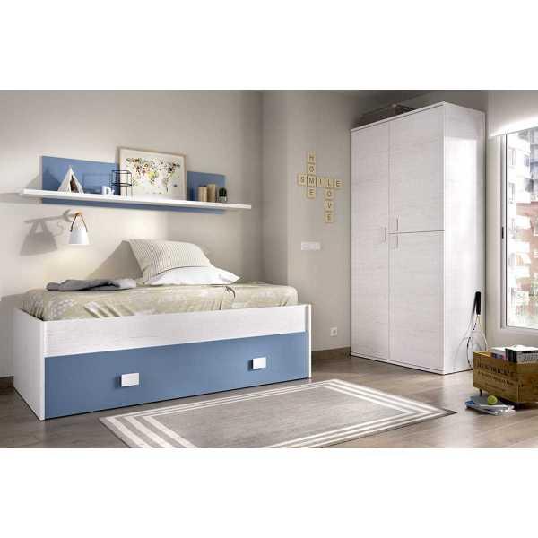 cama nido 1 azul cajon estanteria 3