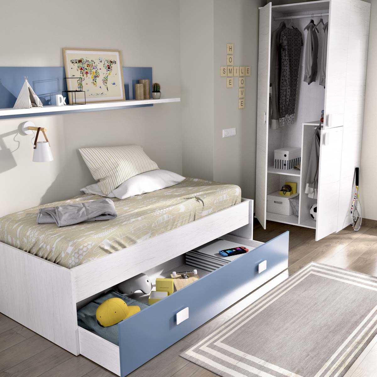 cama nido 1 azul cajon estanteria