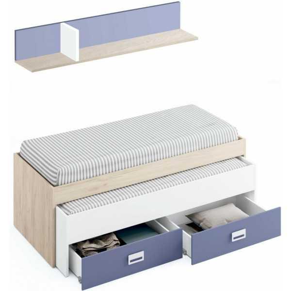 cama nido con cajones y estante