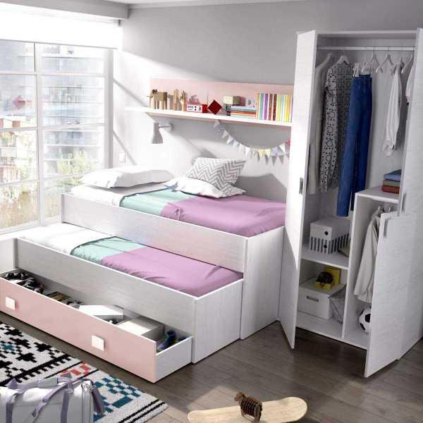 cama nido juvenil 1 cajon estanteria