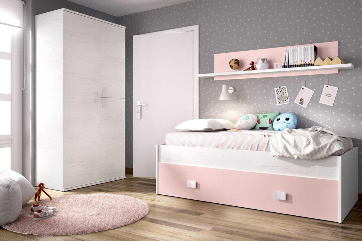 cama nido rosa con cajon y estante 1
