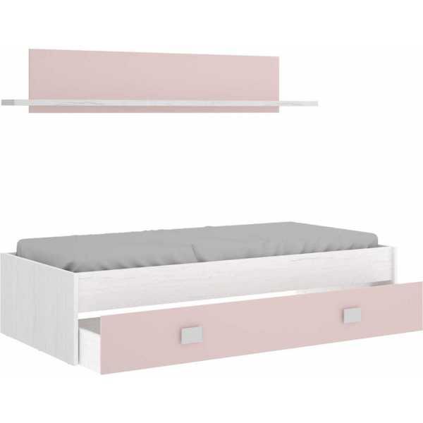 cama nido rosa con cajon y estante 2
