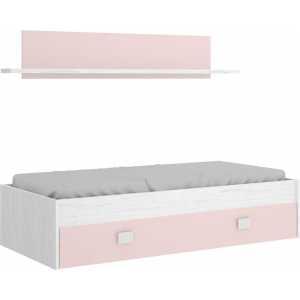 cama nido rosa con cajon y estante 3