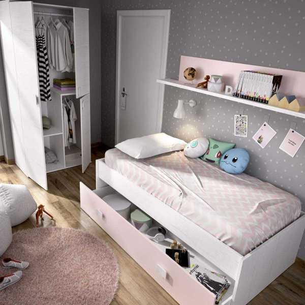 cama nido rosa con cajon y estante