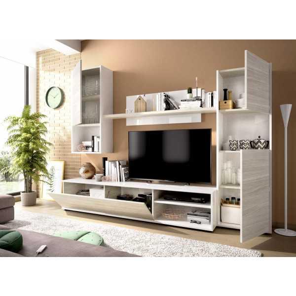composicion salon tv blanco brillo 6