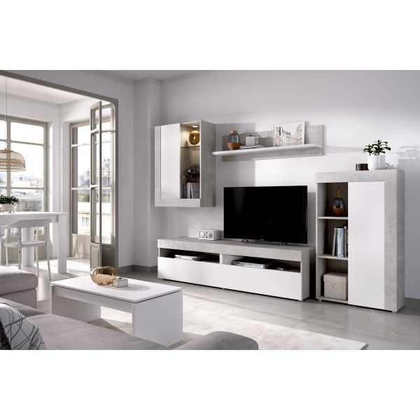 conjunto salon tv con vitrina y leds 2