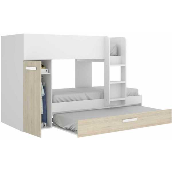 dormitorio juvenil 3 camas blanco 1