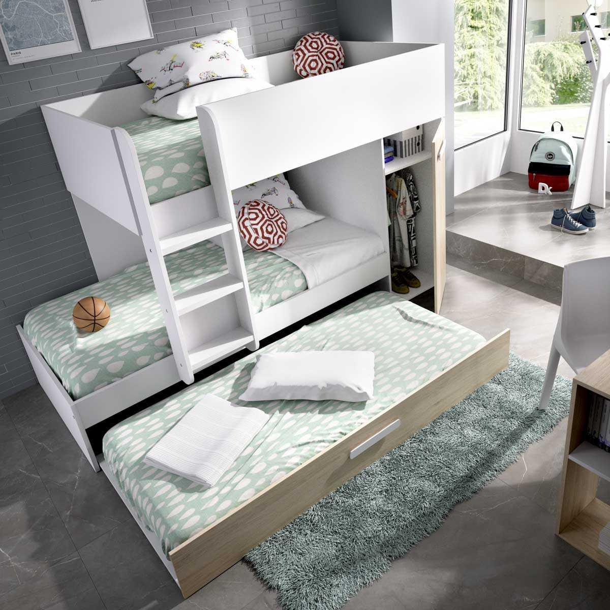 dormitorio juvenil 3 camas blanco 4