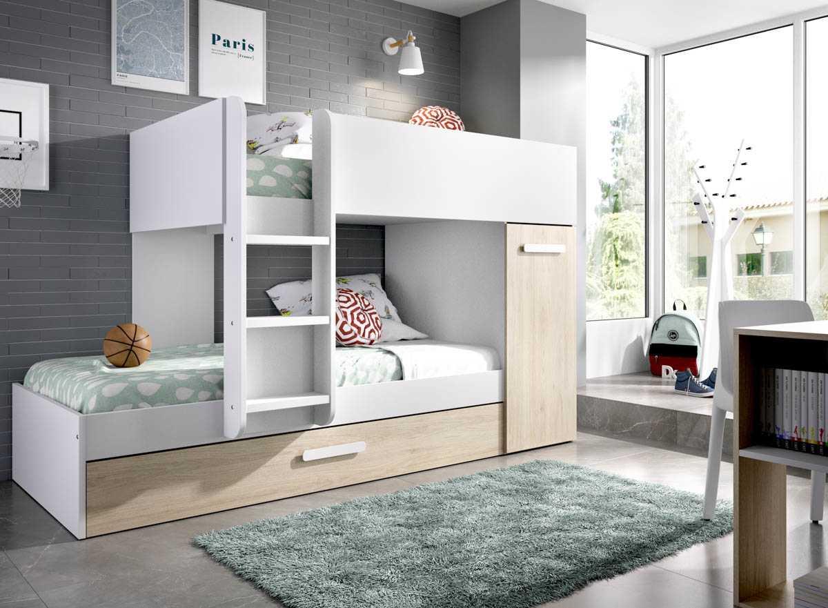 dormitorio juvenil 3 camas blanco