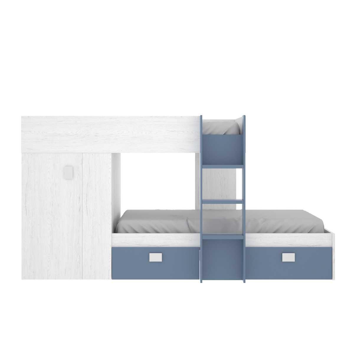 dormitorio tren con armario y 2 cajones 4