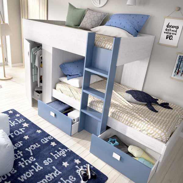 dormitorio tren con armario y 2 cajones