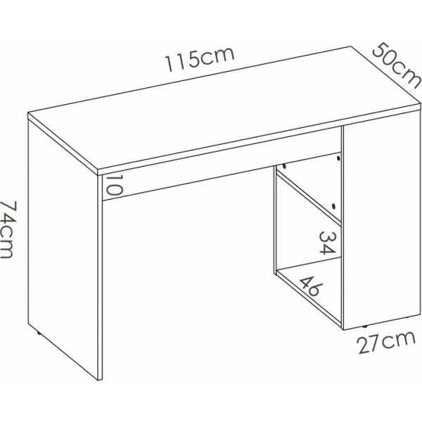 escritorio con estante y 1 cajon