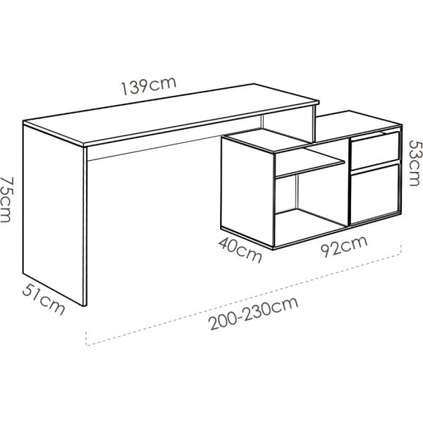 escritorio en forma de l natural grafito 3