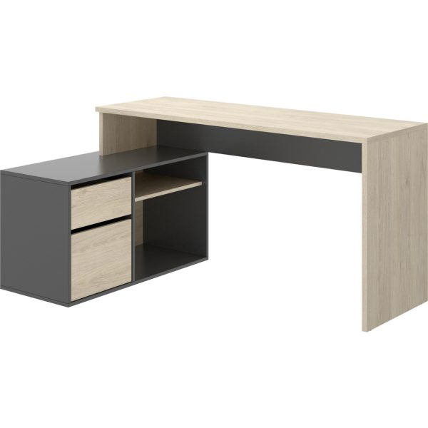 escritorio en forma de l natural grafito 8