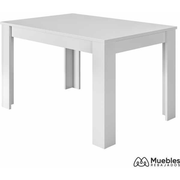 mesa de comedor blanca extensible 140x190cm 004586a
