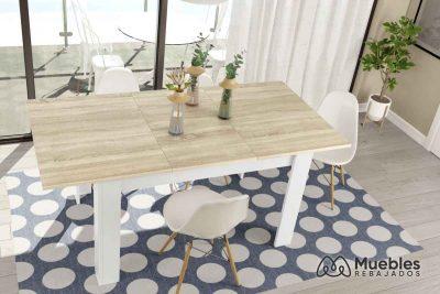 mesa de comedor extensible barata blanca y madera 0f4586a